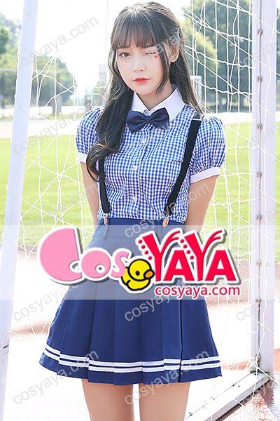 韓国女子チェック柄風スカートコスプレ衣装