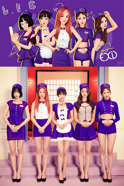 EXID L.I.E演出ダンス制服衣装