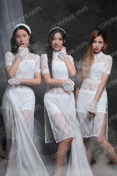 白いレース チャイナドレス 普段着 オシャレ ダンス衣装